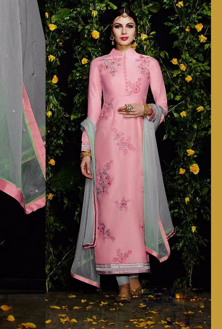 $71.30 Pink Cotton Satin Pakistani Style Suit 57797