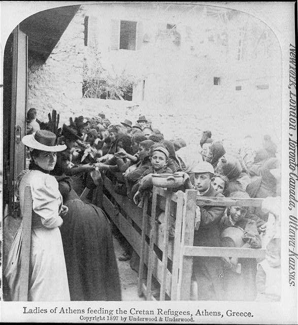 Ladies of Athens feeding the Cretan refugees, Athens, Greece