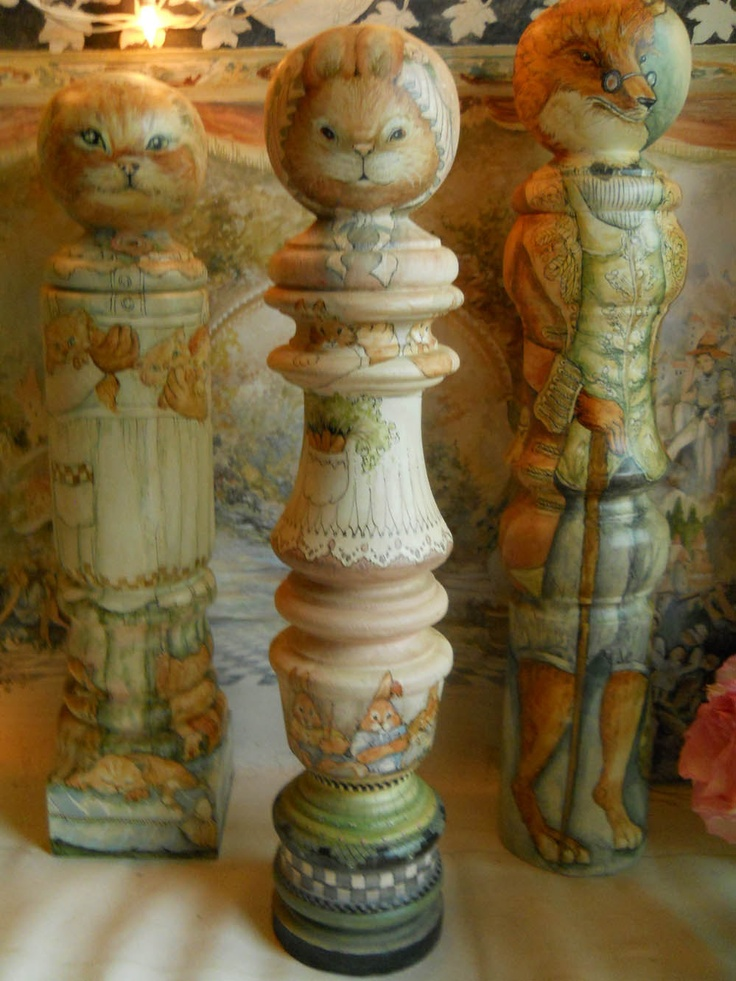 OOAK Hand Painted Mama Rabbit And Her Bunnies Newel Post Turning Anthropomorphic Doll Original Collectible Art Doll Home Decor Shabby Chic. $175.00, via Etsy.