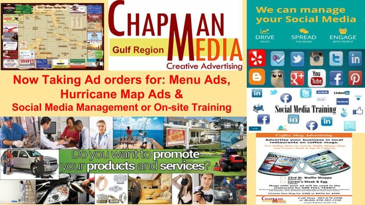 Now Taking orders for menu ads, hurricane map ads & Social media management/or onsite training. Call us!