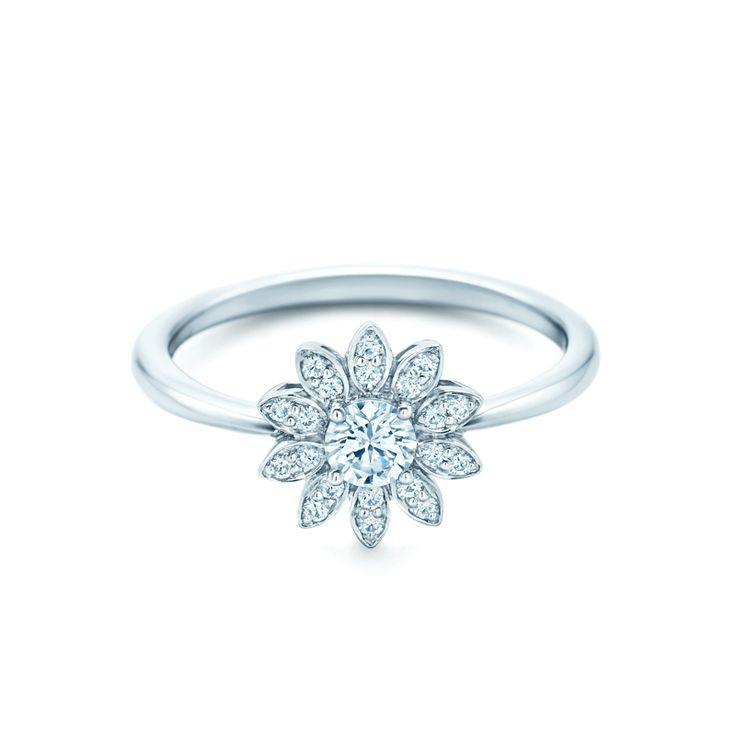 The Tiffany Flower engagement ring with diamonds. #wedding #rings
