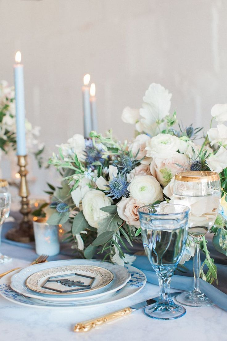 Vintage Blue Blush And Gold Wedding Tablescape