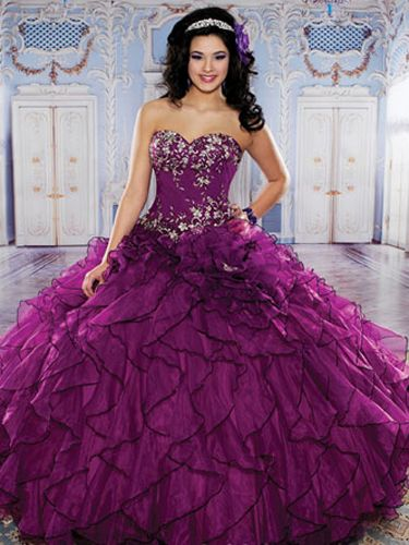 Purple Quinceanera Dresses - Full Skirt With Black Edging