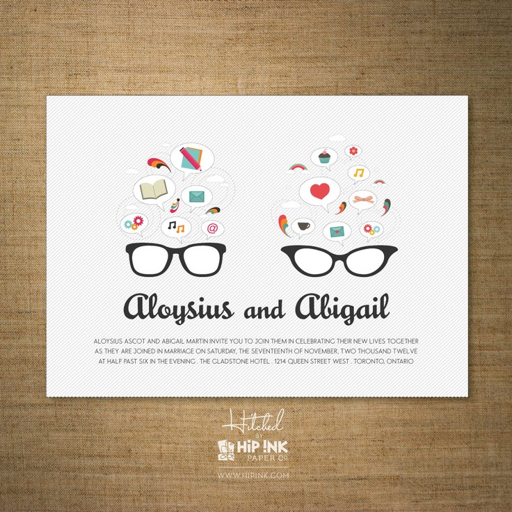 GLASSES Modern His And Hers Wedding Invitation By HipInkPaperCo