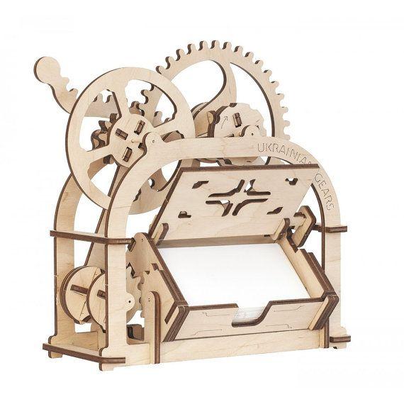 Mechanical 3D wooden puzzle Box Card holder - Moving DIY model kit