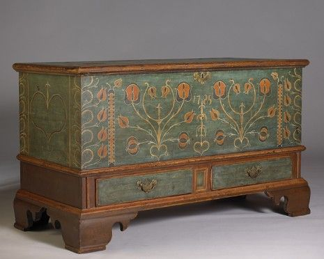 Pennsylvania Dower Chest, Berks County, Original blue-green ground and polychrome decoration, 29.75 H. x 51 W. x 23.5 D.