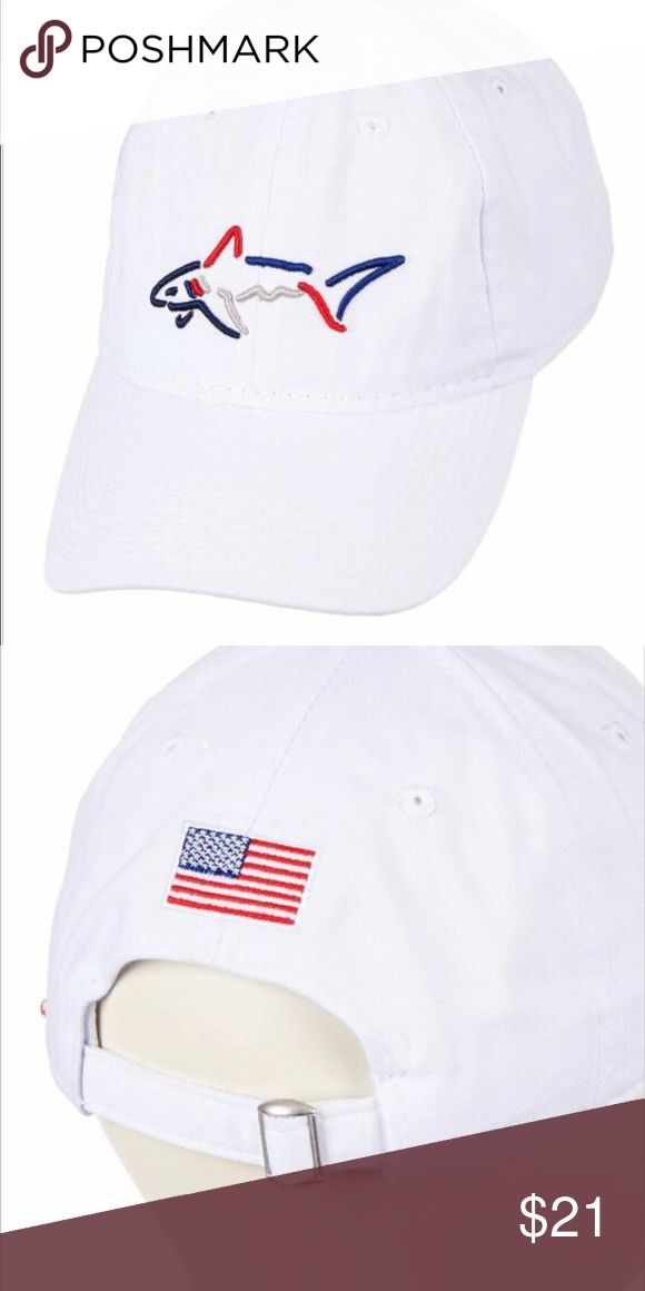 f27307928dcc0 Greg Norman White Americana hat O§ American hat cotton ADJUStable haT red  white And Blue with American flag on back Greg Norman Coll…