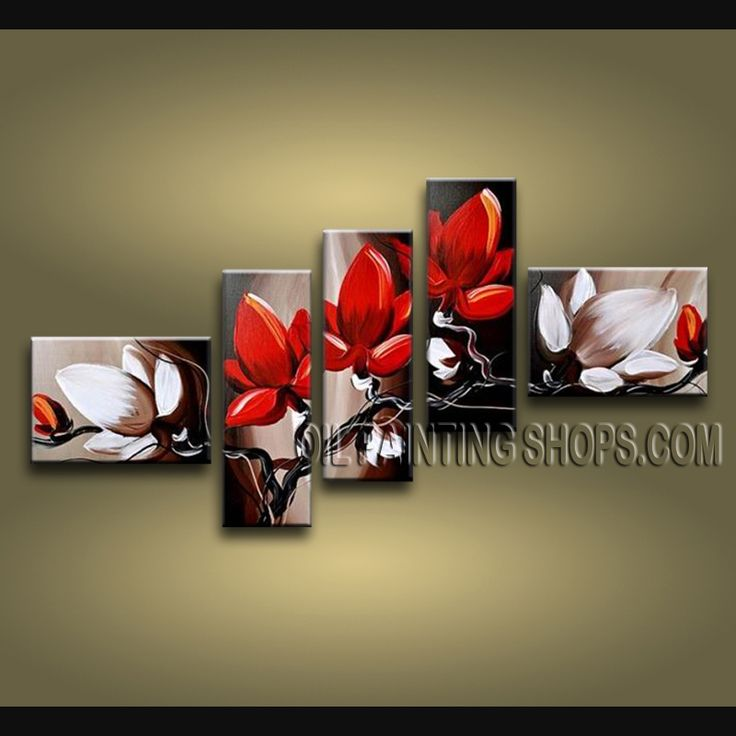 Huge Contemporary Wall Art Oil Painting On Canvas Panels Stretched Ready To Hang Tulip Flower. This 5 panels canvas wall art is hand painted by Bo Yi Art Studio, instock - $168. To see more, visit OilPaintingShops.com