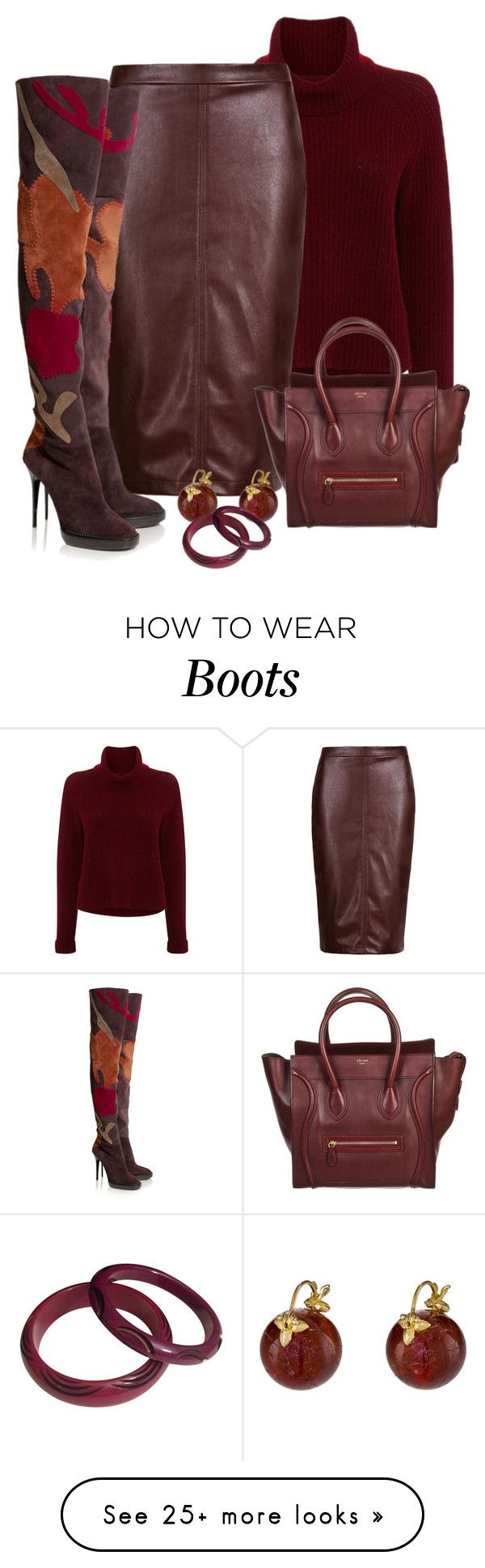 """""""Suede"""" by terry-tlc on Polyvore featuring 360 Sweater, Burberry, CÉLINE and Gabrielle Sanchez"""