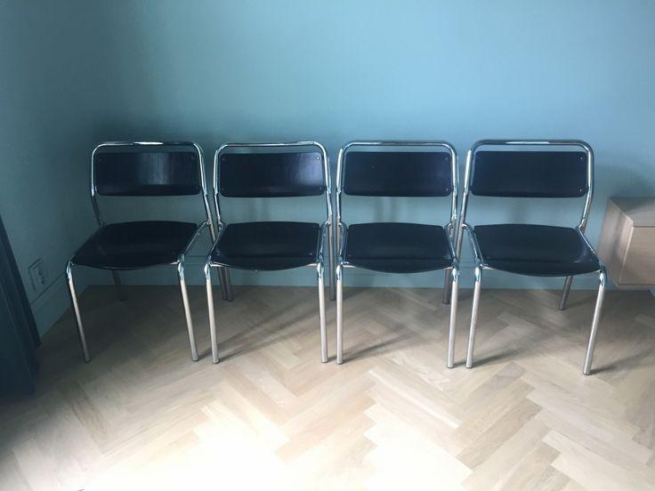 FINN – Lammhults Stablestoler i sort/krom, 4 stk