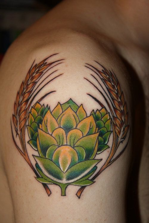 There would be no beer if it wasn't for hops and barley. #InkedMagazine #beer #hops #barley #inked #tattoo #tattoos #ink