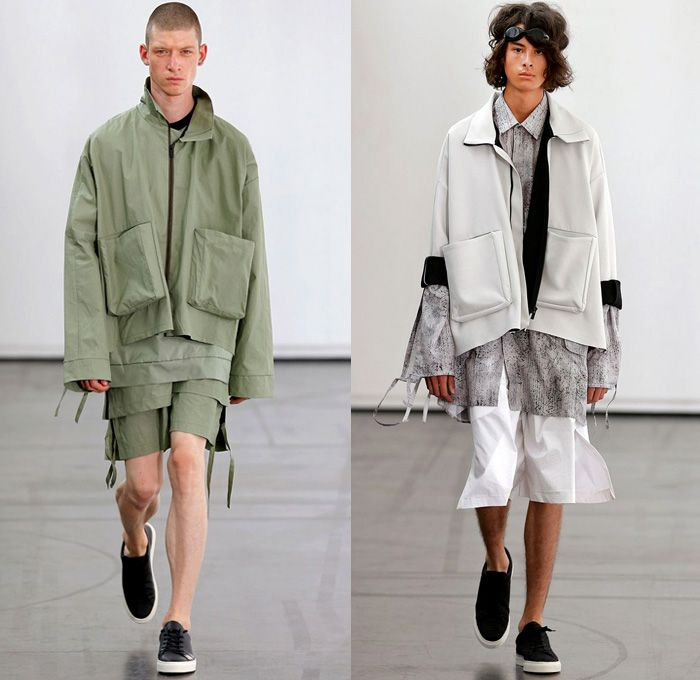 9a5fd57e3f9 Hugo Costa 2018 Spring Summer Mens Runway Catwalk Looks - Combishorts  Romper Onesie Cargo Pockets Khaki Yellow Zipper Cinch Drawstring Layers  Shirt Cutout ...