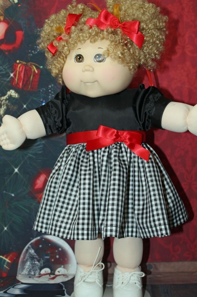 Cabbage Patch Doll Cloths - Plaid Dress Black/White - 2 hair ribbons -panties.   #CabbagePatchKids