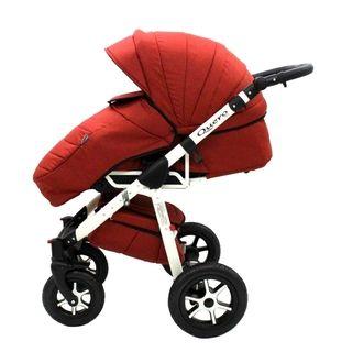 Kinderwagen Kombikinderwagen Babywanne Buggy Autositz 3in1 Quero Leinen 08 rot-weiß + weiße Lufträder