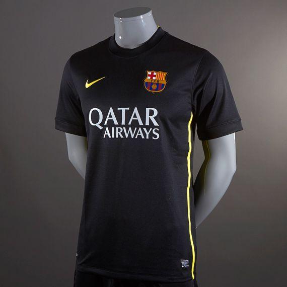 Football Shirts - Nike Barcelona 2013/14 Third Replica Short Sleeve Jersey - Replica Clothing - Black-Vibrant Yellow #pdsmostwanted