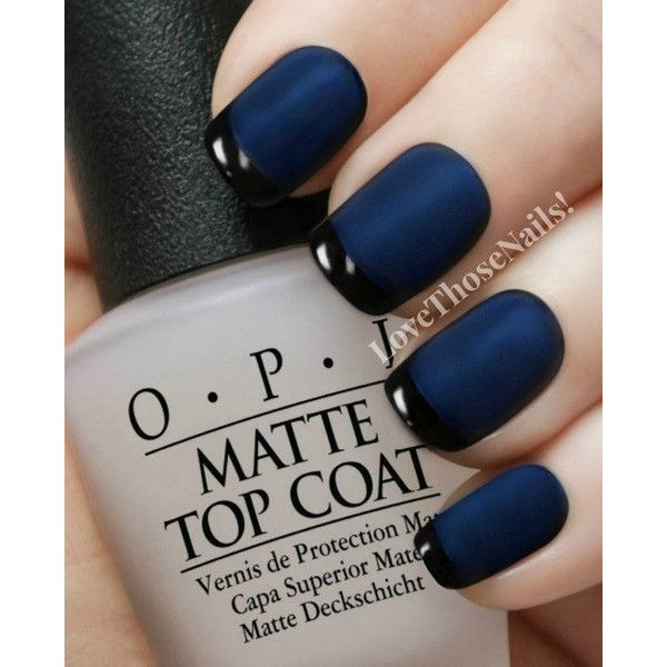 Que Significa Black Nail Polish: OPI Matte Navy Reverse Tuxedo Manicure~ OPI Russian Navy