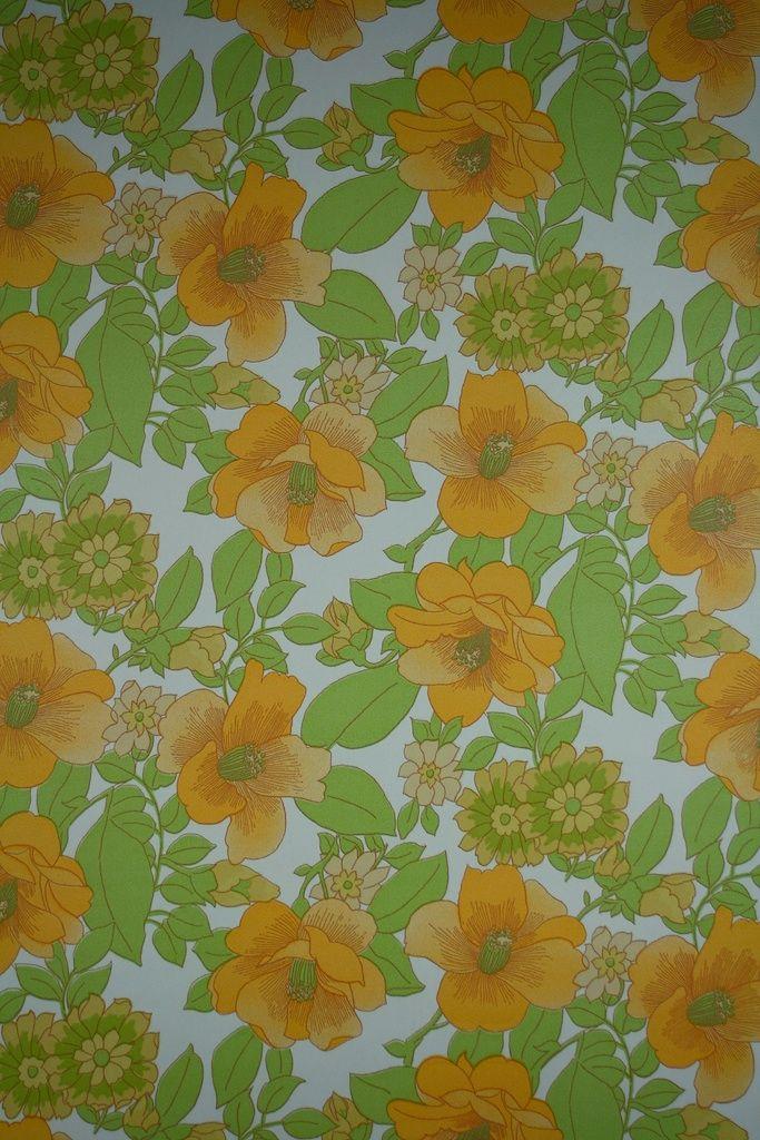 Yellow Flower Wallpaper Vintage