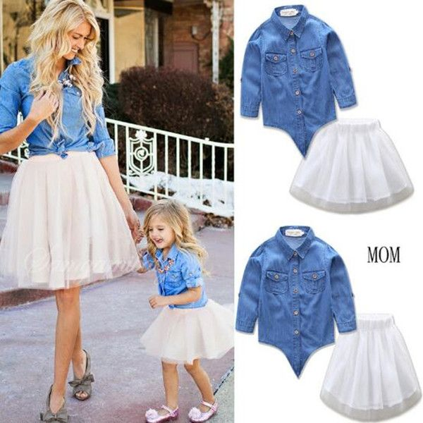 Skirt Parent-child Clothes Set Mother and Daughter Matching Outfits Denim Tops