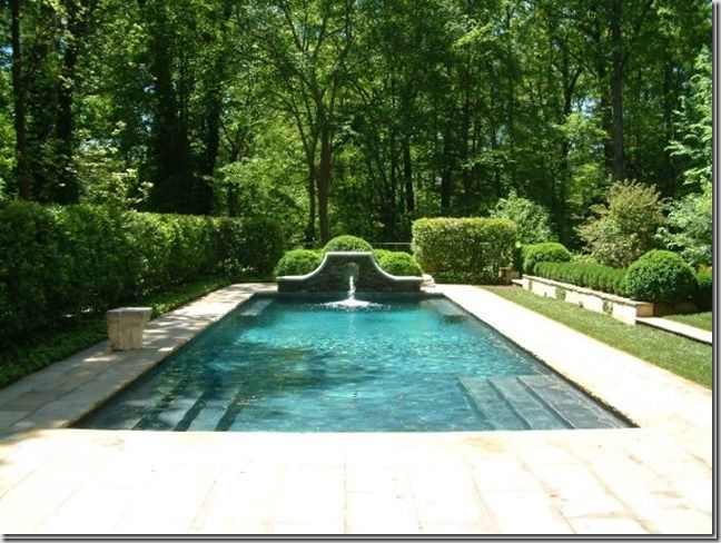 Pool steps, beautiful fountain and landscaping