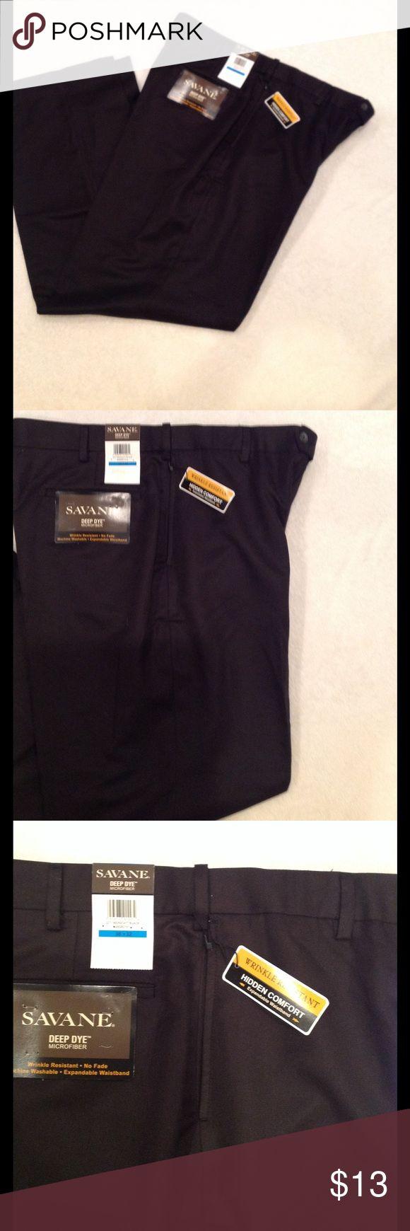 Men's Dress Pants Size 36x32, color is black, wrinkle resistant, no fade, hidden comfort with expandable waistband. Savane Pants Dress