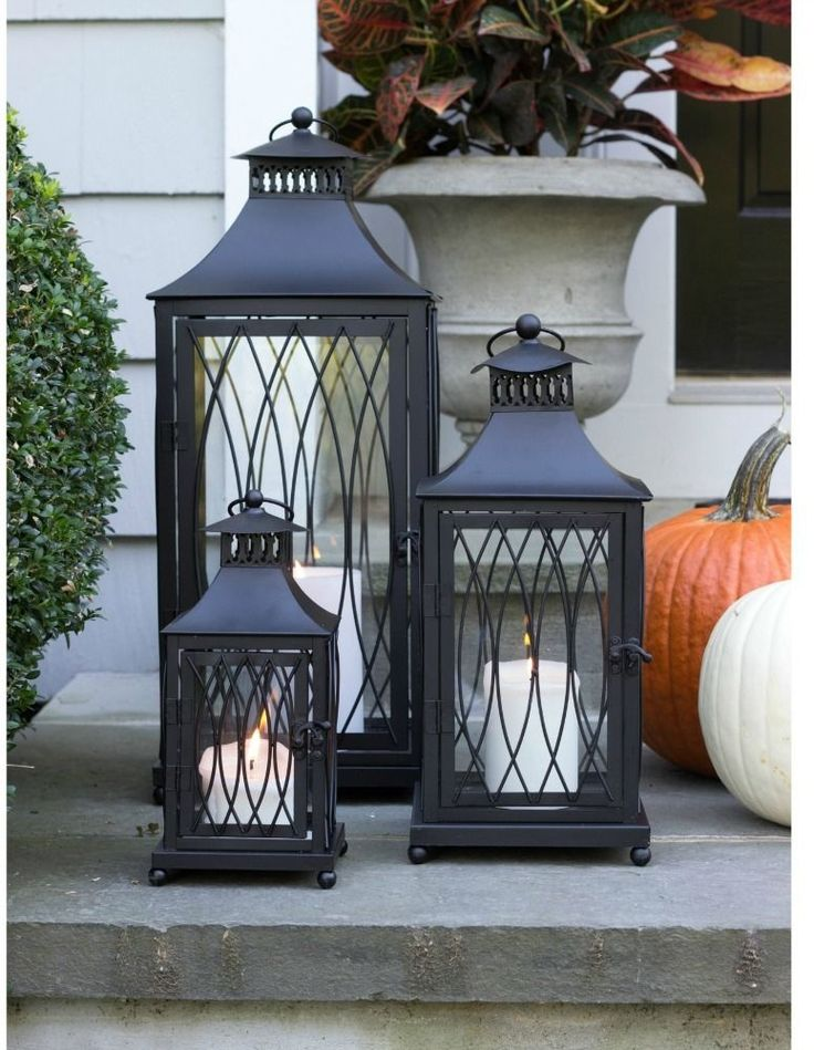 Candle Lanterns Large 3 PC Metal Tall Indoor/Outdoor Holiday Centerpiece Gifts #Unbranded #ElegantOffBlackHoliday