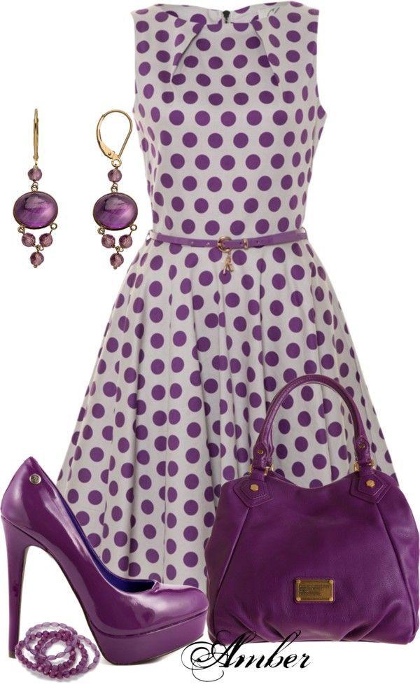 Purple polka dotted dress with purple pumps, purple purse, and purple drop earrings ... love that purple  ...