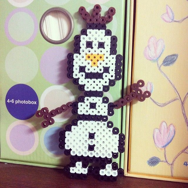 Olaf Frozen perler beads by green_928 - no pattern but a pretty clear picture