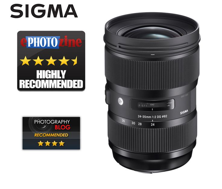SIGMA 24-35mm F2 DG HSM | Art lens receives the ePHOTOzine Highly Recommended rating in their online review of 17th August and the Photography Blog Recommended rating in their 26th August review.