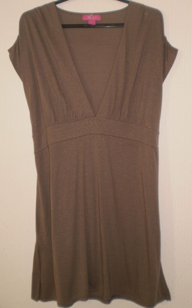 1010d64c18 Monsoon Brown Low V Neck Sleeveless Tunic Top size 12