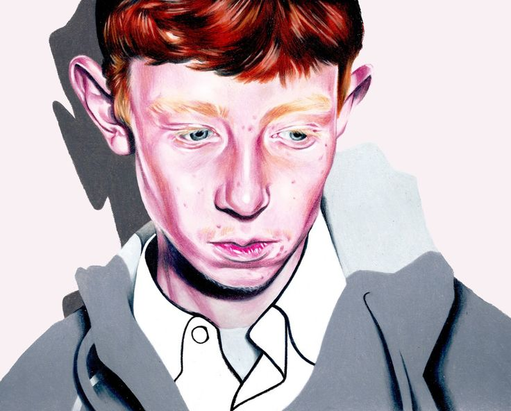 Portrait of King Krule, done in colored pencil.