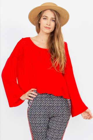 Women's Top Bell Sleeves Red Knitting Embroidered $46.99 CAD