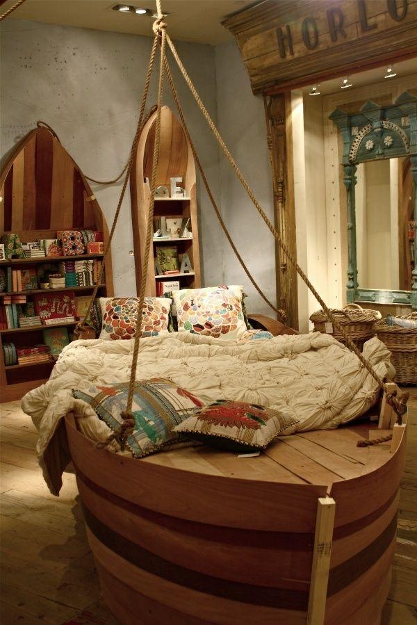 125 großartige Ideen zur Kinderzimmergestaltung - boot bett jungenzimmer bücherschrank