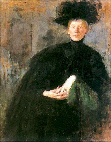 1906 Olga Boznanska (English Impressionist painter, 1865-1945) The Woman in Black