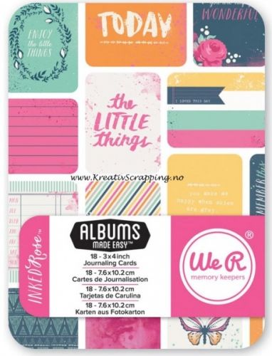 """WE R MEMORY KEEPERS -JOURNAL CARDS 3x4 - 62374-8 - INKED ROSE Perfekt til dine scrapbooking behov.Inkluderer 18 kort med 3""""X4"""".WE R MEMORY KEEPERS-Journal Cards - SNAPSHOTS.A fun addition to your paper crafting projects! This package contains eighteen 4x3 inch double-sided cardstock cards with a different design on each."""
