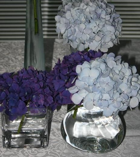Choose a selection of different vases to hire and fill them with different shades of blue hydrangea