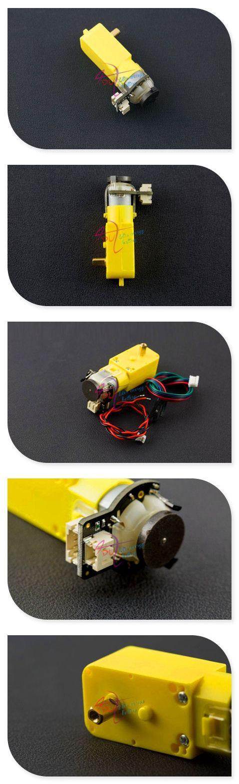 DFRobot 6V 160rpm Micro DC Geared Motor, 3~7.5V 0.2kg with Encoder-SJ01 120:1 + quadrature encoder for mobile robot/car/platform