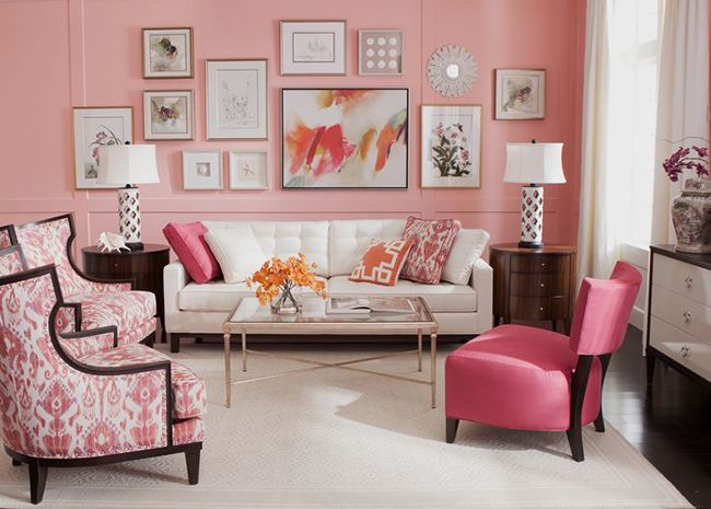 Beautiful gallery wall in this pink living room! - Color Happy: A Collection Of Home Decor Ideas To Try