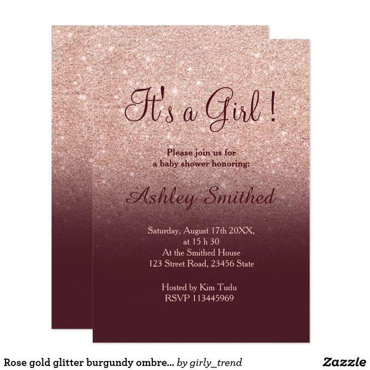 Rose gold glitter burgundy ombre girl baby shower card
