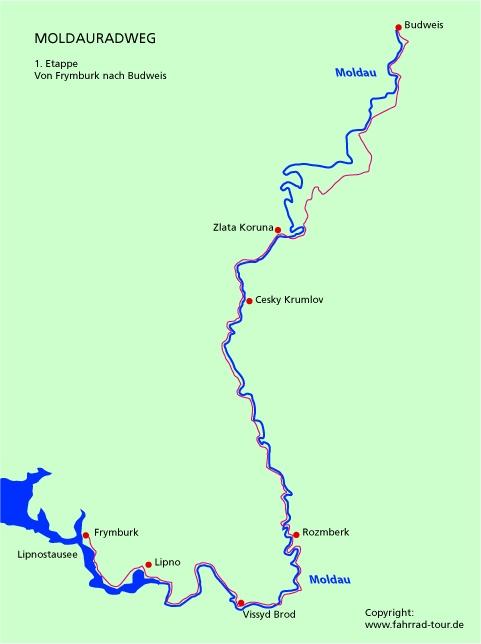 Karte Etappe 1 Moldauradweg