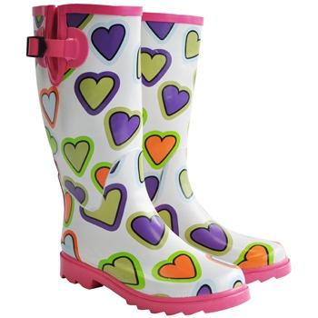 Blue Banana Heart Print Wellington Boots (White/Pink)