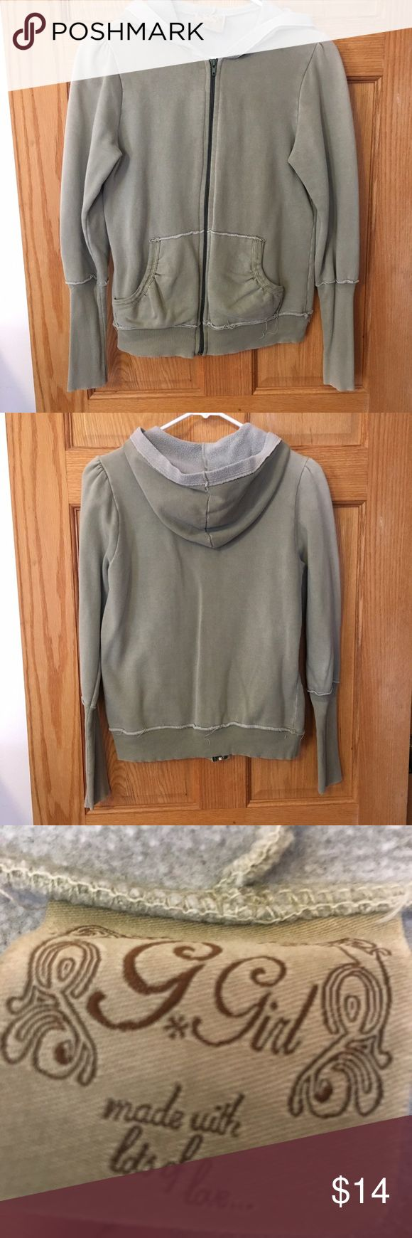 Olive green zip up hoodie Olive green zip up hoodie. Gently used, great condition. Smoke free home. G Girl Tops Sweatshirts & Hoodies
