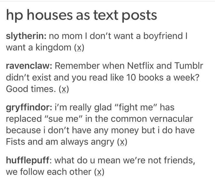 The houses as text posts