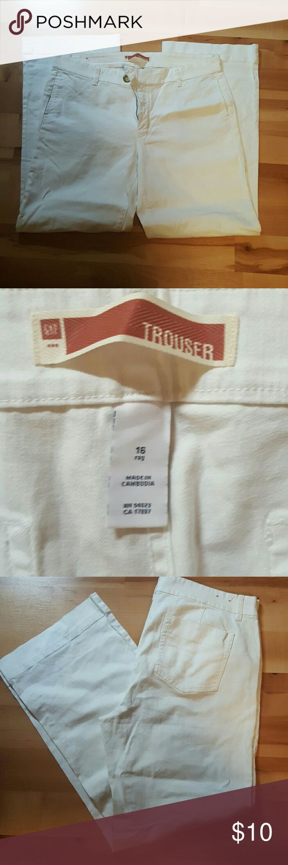 GAP trouser pants with denim material White pants trouser cut, similar to boot cut in a size 16 GAP Pants Trousers