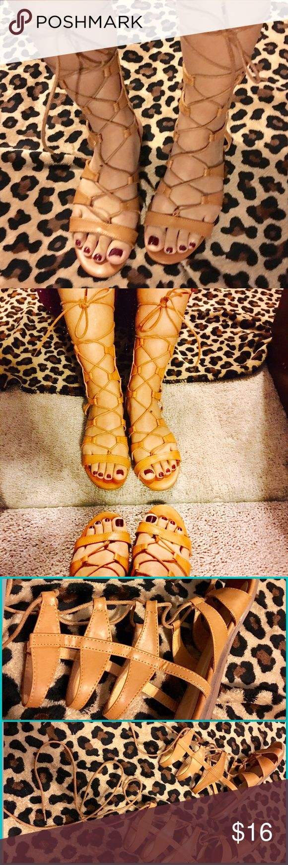 BEAUTIFUL GLADIATOR FLAT SANDALS💕 These are soo beautiful, but i cannot pull this style off lol they have only been worn once. :] Shoes Sandals