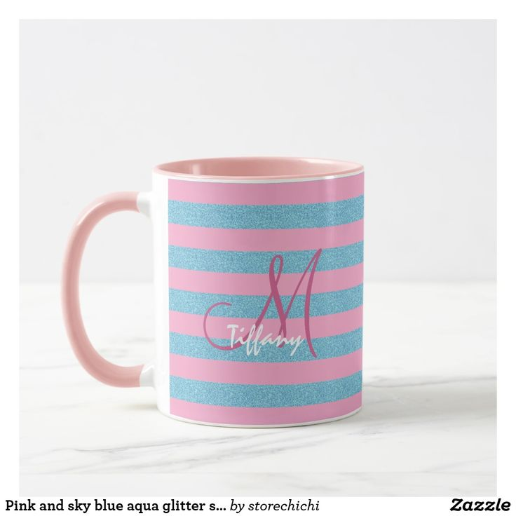 Pink and sky blue aqua glitter stripes monogram