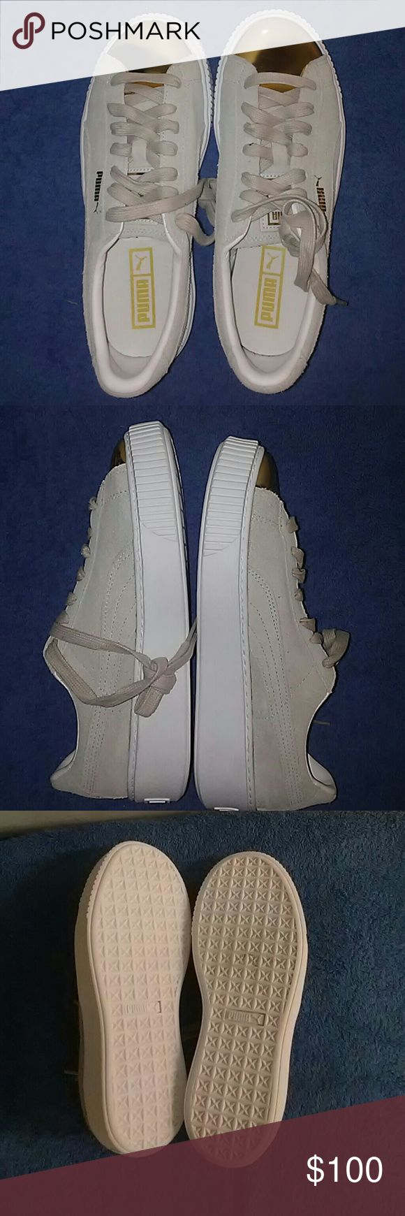 Womens Puma White Suede Rihanna creeper  Size 8.5 Puma sneaker  Size 8.5 Brand new without box Gold/light Greg/white Rihanna designed shoe  *THIS IS YOUR CHANCE TO STEP INTO RIHANNA'S SHOE* puma Shoes Athletic Shoes