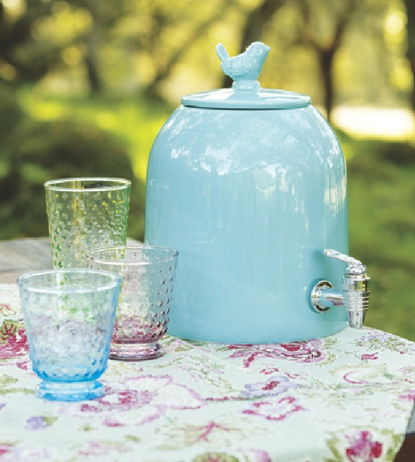 Aqua Bird Ceramic Drink Dispenser at Cost Plus World Market--great for parties all year long! >>  #WorldMarket Easter Style Hunt Sweepstakes. Enter to win a 1K World Market gift card.