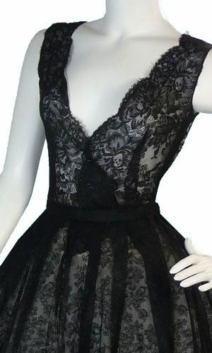 Dressing Vintage - Christian Dior numbered black lace vintage 1950s dress, $2,200.00 (http://dressingvintage.com/christian-dior-numbered-black-lace-vintage-1950s-dress/)