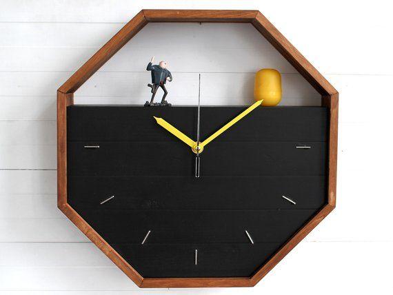 Geometric Wall Clock Octagon Clock Wall Shelf Storage Etsy Unique Wall Clocks Office Wall Clock Diy Clock Wall