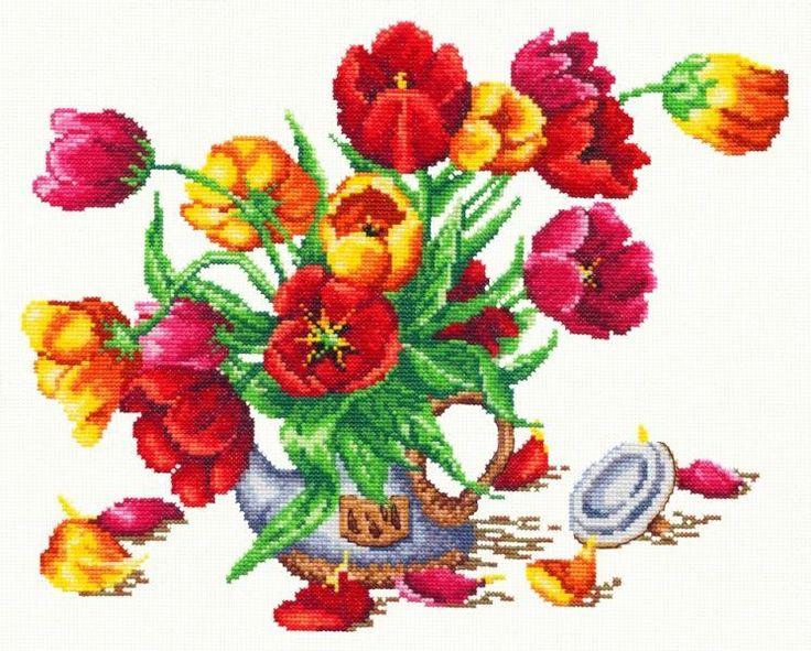Вышивка крестом букет тюльпанов скачать бесплатно. Тюльпаны вышивка